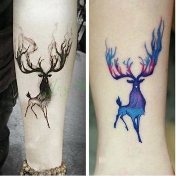 Tattoo Sticker Waterproof Temporary 10.5*6 cm moose deer bucks