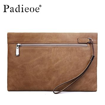 New Fashion Men Clutch Bags Luxury Genuine Leather Wallets for Male Casual Phone Bags Vintage Coin Purses