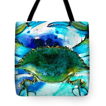 "Blue Crab - Abstract Seafood Painting Tote Bag 18"" x 18"""