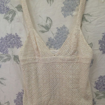 Vintage Eyelet Open Back Tank Top