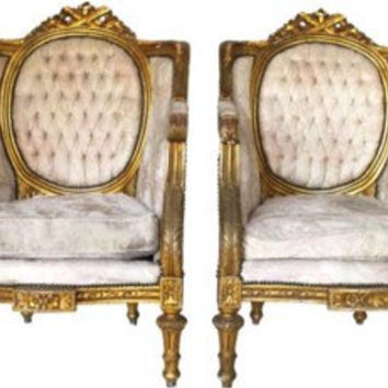SOLD- Vintage Gold Antique French Chairs