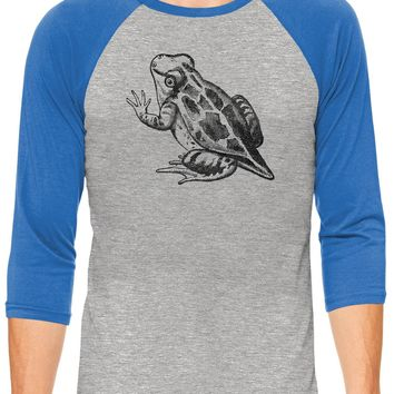 Austin Ink Apparel Baby Frog Grey Unisex 3/4 Sleeve Baseball Tee