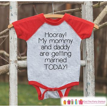 Kids Wedding Outfit - Mommy & Daddy Are Getting Married - Red Raglan Tee or Onepiece - Kids Wedding Shirt - Boys Proposal Tee - Toddler