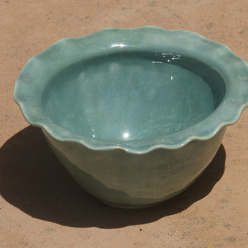 Robin's Egg Ruffle Bowl - Hand thrown, altered, stoneware pottery