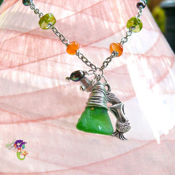 Mermaid Anklet from Hawaii, green sea glass ankle bracelet, Hawaiian jewelry for the beach