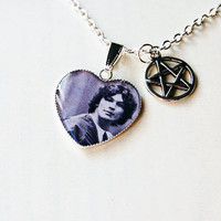 Richard Ramirez aka The Night Stalker (with silver tone pentagram charm) -  Handmade Vintage Cameo Pendant Necklace