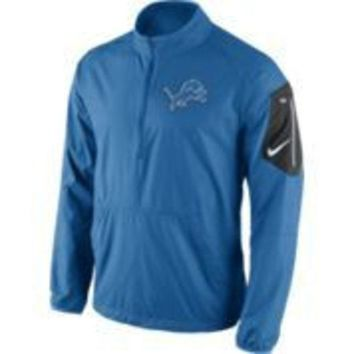 ONETOW NFL Nike Detroit Lions Mens Lockdown Half Zip Jacket-Blue