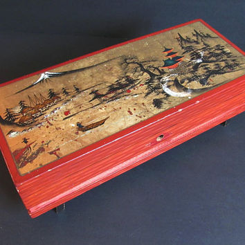 Shabby Vintage Chinese Jewelry / Jewellery Box, Painted Lid, Music Box, Wooden Box