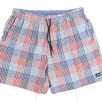 Dockside Swim Trunk in Navy and Red Seersucker Gingham by Southern Marsh - FINAL SALE