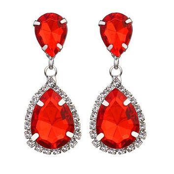 Firefighter Awareness Crystal Police Waterdrop Earrings
