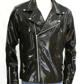 Snake print biker style leather jacket