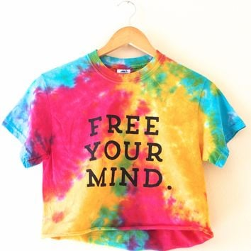 Free Your Mind. Rainbow Splatter Tie-Dye Graphic Cropped Tee