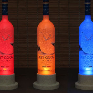 Grey Goose Bottle Lamp Color Changing LED Remote Controlled Eco Friendly rgb LED/Party Light -French Vodka -Bodacious Bottles-