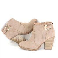 Buckle Ankle Booties Taupe