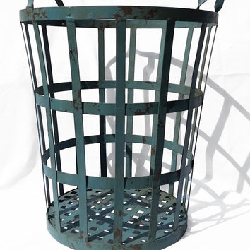 Large Industrial Wire Basket for Storage, Utility Metal Industrial Decor