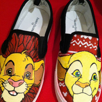 Boys custom hand painted acrylic paint shoes lion king