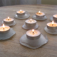 Sea Glass Tea Light Candles Shabby Chic Beach Cottage Decor Eco-Friendly Gift 11-3
