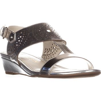 Anne Klein Maddie Low Wedge Sandals, Silver/Silver, 10 US