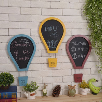3pcs American country retro cafe bar shop wall hangnings hot-air balloon creative message board blackboard wall decoration