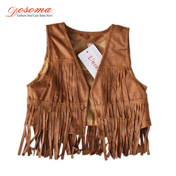Colete infantil 2016 brand vest baby Europen & American girls vest for children spring autumn tassel kid vest fringed waistcoats