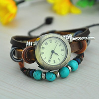 WT84 Vintage Style Leather Belt Watch with Turquoise Beads B001