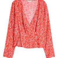 Patterned Wrapover Blouse - from H&M