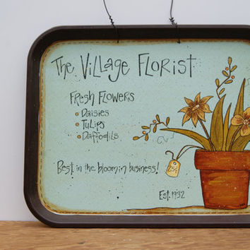 Cafeteria Tray Hand Painted Lunch Tray Sign Country Home Decor Cafeteria Food Tray in Robins Egg Blue The Village Florist Rustic Decor