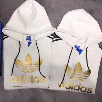 Women Couple Adidas Print Hoodie Sweatshirt Tops Sweater Pullover White G