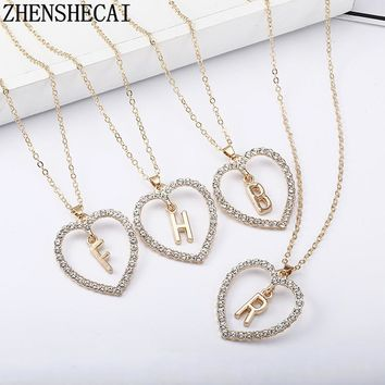 2018 Simple gold Color love heart necklaces   pendants double Rhinestone  choker necklace women statement jewelry 317a7042a0
