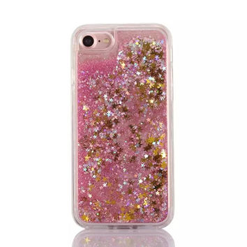 Gold Cascading Confetti Stars and Pink Glitter Case for iPhone 7