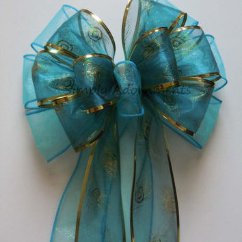 Aqua Blue Peacock Bow Wedding Decoration Bow Wedding Arches Church Pew Bow Peacock Blue Gold Trim Party Decor Bow Gifts Bow
