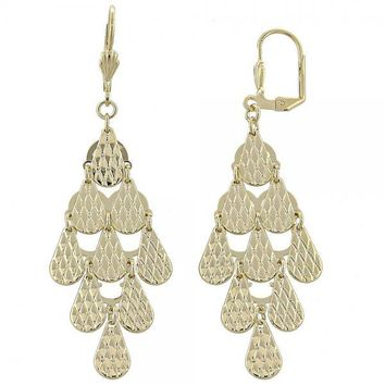 Gold Layered 02.63.2220 Chandelier Earring, Teardrop Design, Diamond Cutting Finish, Gold Tone