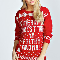 Merry Christmas Ya Filthy Animal Womens Ugly Christmas Sweater