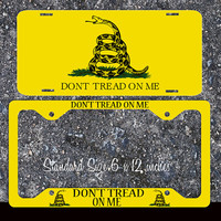 Don't Tread on Me Flag Snake License Plate Frame Holder Metal Car Truck Tags Personalized Custom Vanity Liberty Patriotic