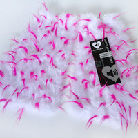 MADE TO ORDER Uv Hot Pink & White spiked Fluffies Fuzzy Leg Warmers fluffy boot covers gogo boots rave fluffies