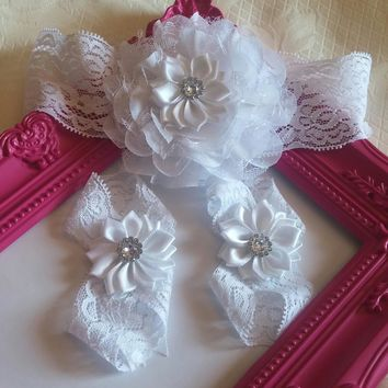 White Lace Satin And Chiffon Flower Baby Headband and Barefoot Sandal set!