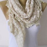 Beige scarf-Elegant womens Scarf-Cowl with Lace Edge -Fashion accessories-christmas gift for her-scarves-Shawls for her