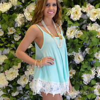 Harmony Mint Lace Trim Top