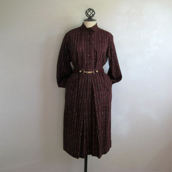 Vintage 1980s Escada Dress Burgundy Stripe 2 pc Light Wool Blouse Skirt Suit 42