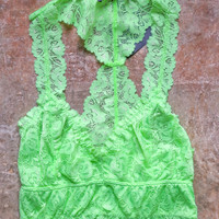 Fiona Lace Bralette, Lime Green