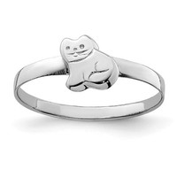 Sterling Silver Child's Polished Kitty Cat Ring