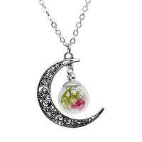 Gift Stylish New Arrival Jewelry Shiny Accessory Hollow Out Glass Pendant Sweater Chain Necklace [9552701450]