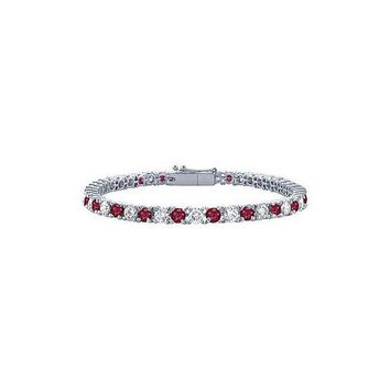 Ruby and Diamond Tennis Bracelet : Platinum - 1.00 CT TGW