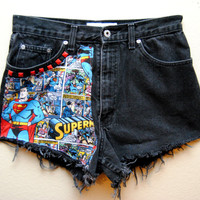 Superman High Waisted Shorts Studded Superman Superhero Panel Patch Medium 12