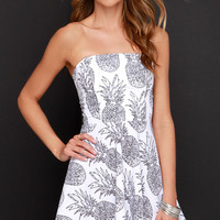 If You Like Pina Coladas Ivory Pineapple Print Dress