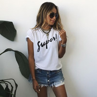 New Arrival 2016 Women Spring Summer Short Sleeves T-shirts Casual Letter Printed White Tops Street Wear Female # NS272