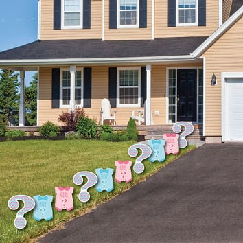 Gender Reveal - Baby Bodysuits and Question Mark Lawn Decorations -  Outdoor Yard Party Decorations - Shaped Lawn Ornaments - 10 Piece Set