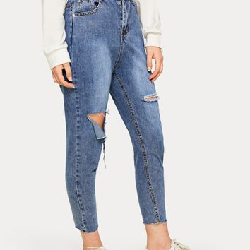 Solid Ripped Washed Mom Jeans