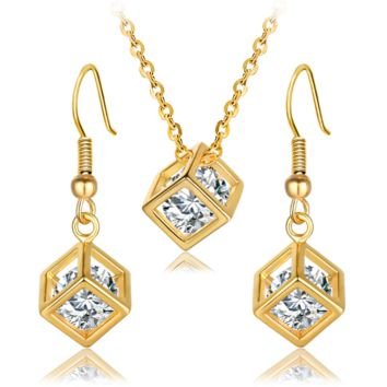 Water Cube Hollow Box Cube Zircon Cube Jewelry Necklace Earrings Set