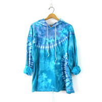 Vintage blue and white tie dye sweatshirt Hooded drawstring sweatshirt cotton hoodie Unisex COED with Pockets Size XL